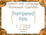 Speech Homework Calendar - Pets