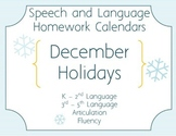 Speech Homework Calendar - Winter Holidays