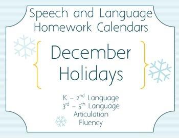 Speech Homework Calendar - Winter Holidays