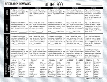 Speech Homework Calendar - Zoo