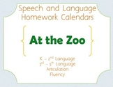 Speech Homework Calendar - Zoo