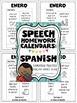 Spanish Speech Therapy - Homework Calendars in Spanish - Language FOR THE YEAR!