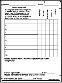 Speech Homework Forms - Generic