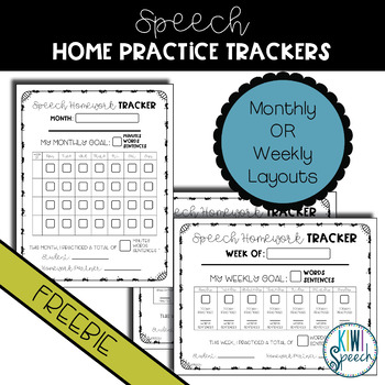 Speech Homework / Home Practice Tracker {FREEBIE}