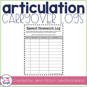 Speech Homework Logs {FREEBIE!}
