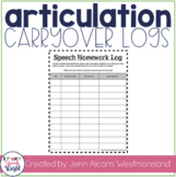 Speech Homework Logs {FREEBIE!}