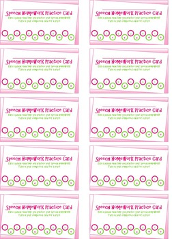 Speech Homework Punch Card