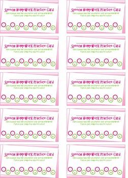 Speech Homework Punch Card