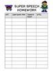 Speech Homework Sheets