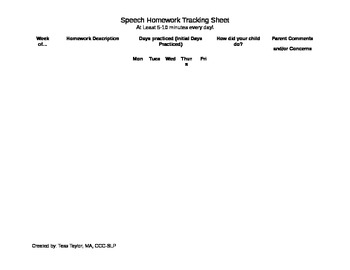 Speech Homework Tracking Sheet