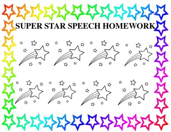 Speech Therapy Homework Chart