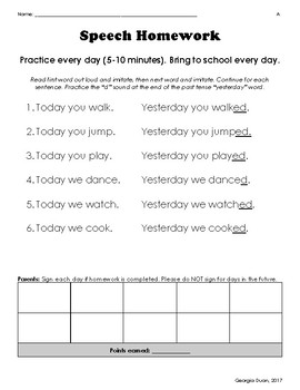 Differentiated Speech Homework for Past Tense Levels A-B-C (English/Spanish)
