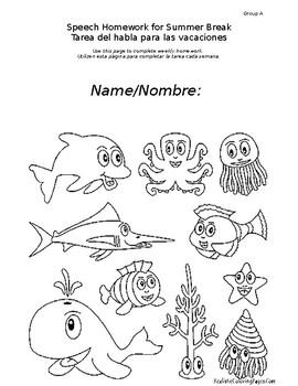 Differentiated Speech Homework for Summer Break - Level A (English/Spanish)