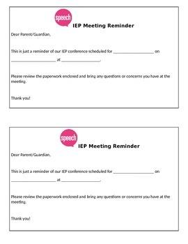 Speech IEP Meeting Reminder