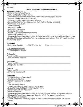 Speech Documentation Checklist EDITABLE {initial annual IEP documentation} free