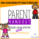 Speech Intelligibility Handout - How clear should my child