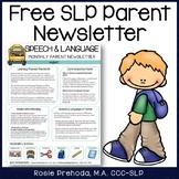 SLP Newsletter Intro to Parents - Freebie