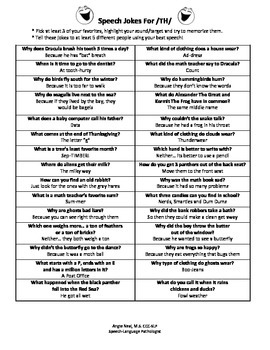 Speech Jokes for Articulation, Language, Voice and Fluency