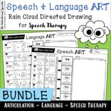 Speech & Language ART Bundle - Rain Cloud Directed Drawing for Speech Therapy