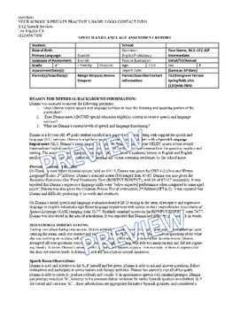 Speech Language Assessment Editable Templates Case Studies Full Reports