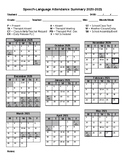 Speech-Language Attendance Calendar {Editable}