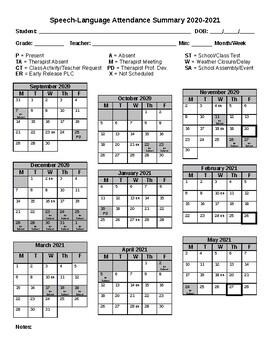 Updated for 2020 2021** Speech Language Attendance Calendar Editable