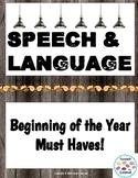 Speech & Language Beginning of the Year Must Haves!