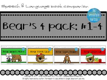 Speech & Language Book Companion: Bear's 4 pack books #1-4
