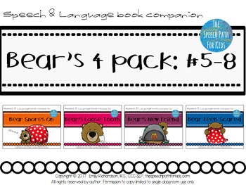 Speech & Language Book Companion: Bear's 4 pack books #5-8