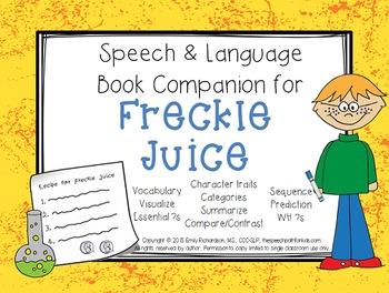 Speech & Language Book Companion: Freckle Juice