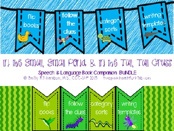 Speech Language Book Companion: In the Tall,Tall Grass & Small,Small Pond BUNDLE