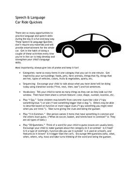 Speech & Language Car Ride Quickies