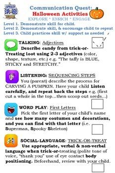 Speech & Language Carry-over: HALLOWEEN ACTIVITIES