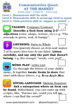 At the Grocery Store: Speech & Language Carry-over/Homework: