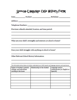 Speech-Language Case History Form