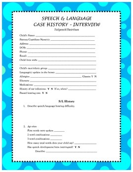 Speech & Language Case History-Interview