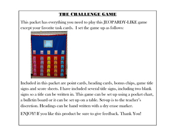 Game Show Style Game- Instructions and Pieces