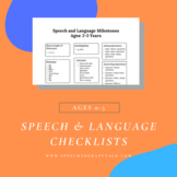 Speech-Language Checklists and More (Ages 0-5)!