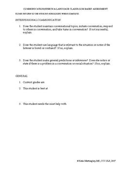 Speech & Language Classroom Based Assessment