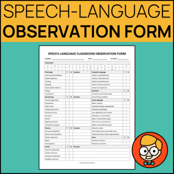 Speech Therapy Classroom Observation Forms Worksheets