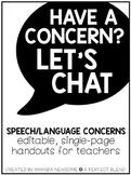 Speech/Language Concerns: Teacher Handout
