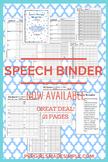 Speech & Language Data Sheet Binder - 23 pages! Articulati