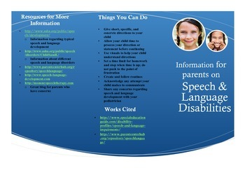 Special Education Parent Handout: Speech and Language Disa