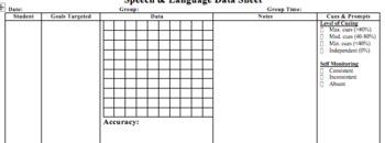 Speech & Language Discrete Trial Data Form