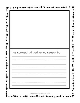 Speech-Language End of Year Activity - Summer Goals