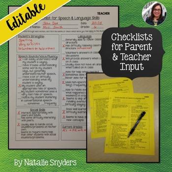 Speech & Language Evaluation Checklists - Editable