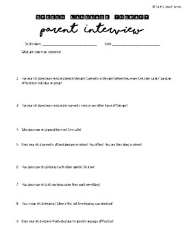 Speech Language Therapy Evaluation Quick Reference Parent Interview Questions