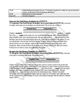 Speech & Language Evaluation Report for ELL student with use of Interpreter