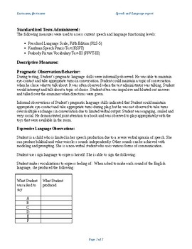 Speech & Language Evaluation Report for Non-Verbal Student