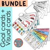 Speech/Language Goal Cards + Visual Cue Cards Binder Ring BUNDLE